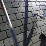 屋根の塗装工事。